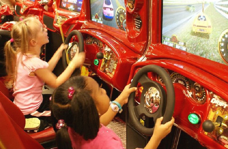 Girls at The Only Game in Town Arcade